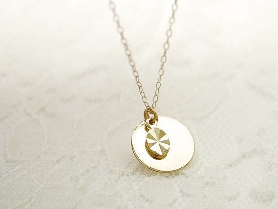 Gold double drops necklace - tiny facet and round drop on gold filled