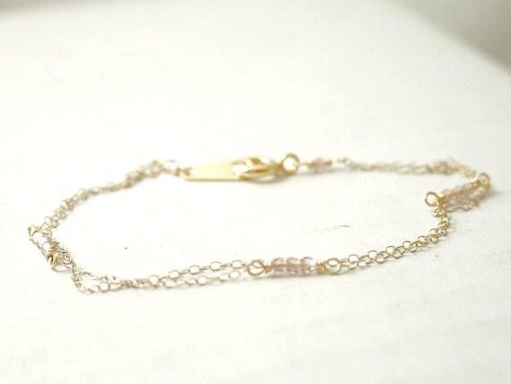 Tiny beaded swarovski bracelet - crystal beads on gold filled - dainty delicate jewelry