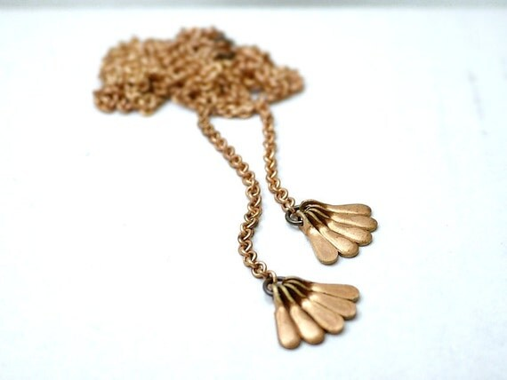 Long brass tassel necklace - vintage drops on raw brass - versatile minimal jewelry