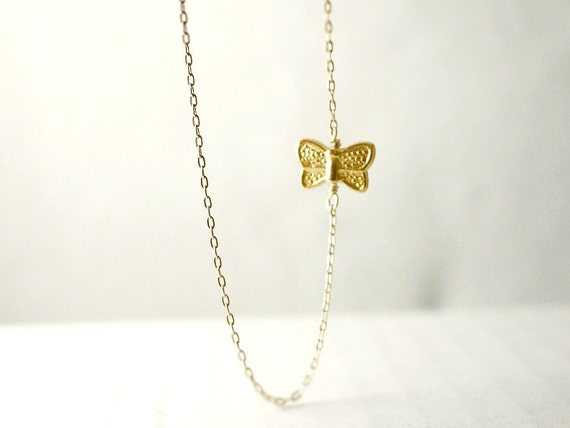 Gold butterfly necklace - gold filled chain - whimsical delicate jewelry