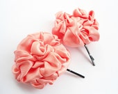 Pink Flower Bobby Pins, Peach Pink Satin Fabric Flower Hair Clips, Pink Blossom Hair Pins Accessories, Hand Sewn Flower Hair
