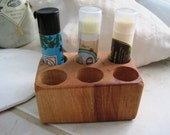 Rustic Natural Cherry Wood Lip Balm Chapstick Wooden Display Holder for Bathroom Vanity or Spa, Small