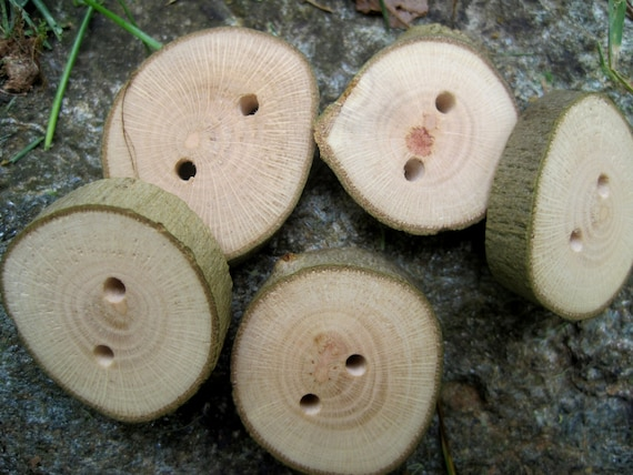 Natural Sycamore Wooden Tree Branch Buttons Wood Accessory for Knitting, Crochet, Journal, Jewelry, and Clothing Projects - Set of 5
