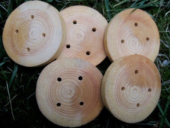 Large Wooden Buttons Nature Inspired Rustic Spruce Wood Tree Branch Buttons for Knitting, Crochet, Journals, Totes and Clothing (Set of 10)