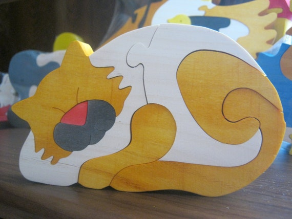 """Wooden puzzle """"Red Cat"""" Eco Toy"""