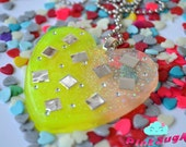 Large Resin Heart With Glitter Mirrors and Rhinestones - Necklace Pendant - Handmade by PinkSugArt