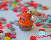 Colorful Cupcake Charm - Mobile Charm - Handmade of Polymer Clay by PinkSugArt