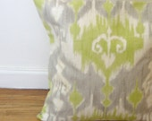 Decorative Throw Pillow Cover - 20 x 20 inches - Dorrigan Ikat Celery Print - BOTH SIDES - Throw Pillow - Accent Pillow