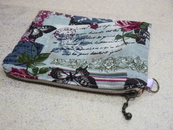 Sale Mother's Day gift with Blue Butterfly metal zipper postal theme cotton purse