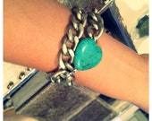 Silver chunky Curb chain Bracelet with Turquoise Heart Stone- Matt silver chain