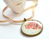 SCENT bronze necklace, round flower pendant in pink and white on a satin ribbon europeanstreetteam