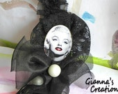 Handmade necklace and brooch 2in1, black lace, matte white pearls, antique solid brass vintage brooch with  Marilyn Monroe