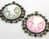 Cameo Pendant Pink and White - Green and White in bronze color pendant base (1 Cameo Pendant)