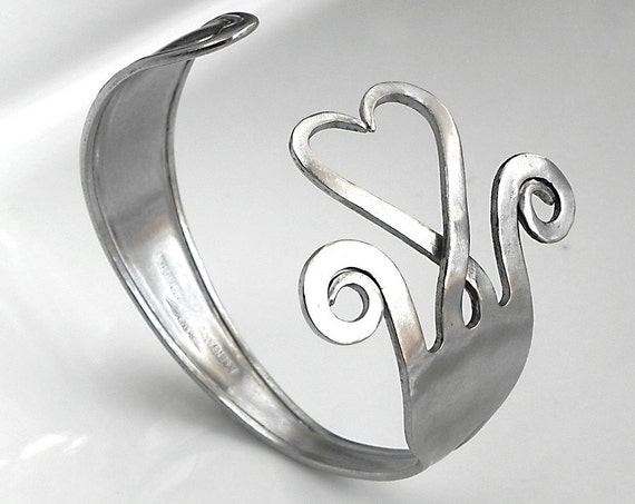 Fork bracelet. Big stainless steel  heart shaped fork