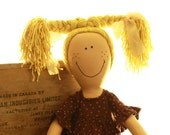 Handmade Rag Doll Liisa, Heirloom, Blond Braids, Brown Polka Dotted Dress, made to order