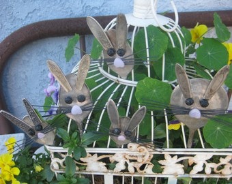 GARDEN MARKER Bunny Rabbit - Silver Plated Large Serving Spoon - Spoon Garden Marker- Plant Stake-