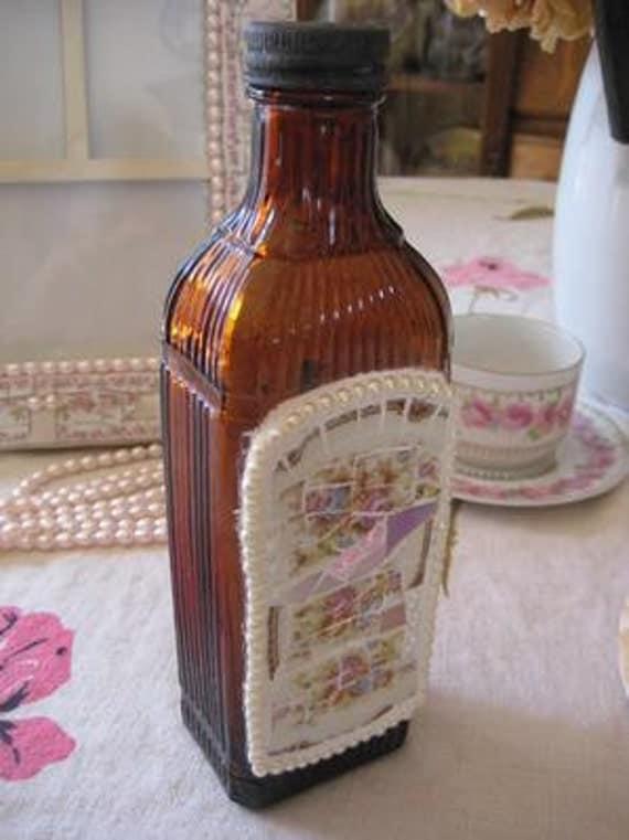 Amber Bottle -Mosaic Vintage Amber bottle - Vertical Lines - Broken China Mosaics
