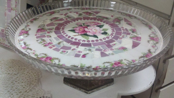 Broken China MOSAICS CAKE PLATE  - Vintage China Mosaic Cake Plate- Glass Fluted Edge-Pink Floral Vintage China- Beautiful Pink Flowers