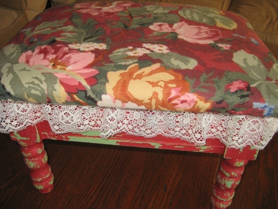 Floral Covered Foot Stool - Bright Floral Fabric- Hibiscus Flowers - Lace- Shabby Cottage- Chippy