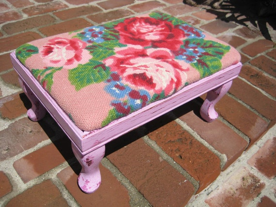Floral Covered Foot Stool - Bright Floral Fabric- Large Cabbage Roses - Shabby Cottage- Chippy