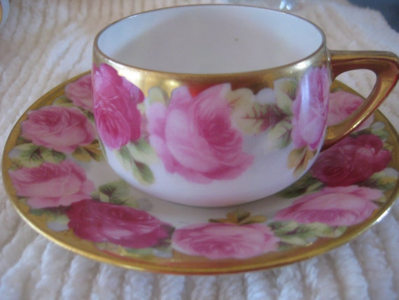 ROSES ROSES and More Roses - Demi Cup & Saucer Covered with Lt. Pink and Dark Pink Roses TREASURY Item
