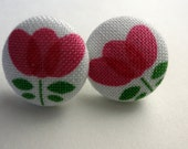 Fabric Button Earrings Post Pink Flowers