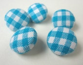 Fabric Covered Buttons, Blue Turquoise Gingham