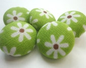 Fabric covered buttons, green and white flowers, floral