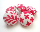 Fabric covered buttons, red and white flowers, floral