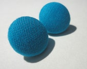 Blue turquoise Fabric button earrings