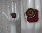 Red Gold Knitted Ring