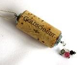 Goldschmidt Wine Cork pendant Wine cork Necklace Cork Jewelry - recycled upcycled industrial Swarovski pink gray black