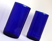Pair of Cobalt blue beer bottle glasses tumblers recycled upcycled repurposed cups eco friendly gift wrapped