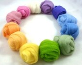 Spring Pastel Rainbow Pack of 12 Colors of New Zealand Corriedale Wool Roving Top Sliver for Needle or Wet Felting or Spinning