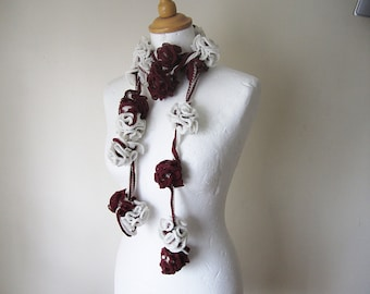 red and ivory scarf crocheted,, floral crocheted scarf, floral neckwear decorative scarf, fall accessories, uk seller, Yarnawayknits