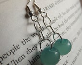 Turquoise Button Dangle Earrings