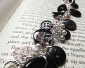Black Button and Pink Crystal Bracelet With Silver Pearls