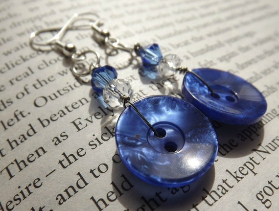 Shimmery Blue Earrings with Crystal Accents