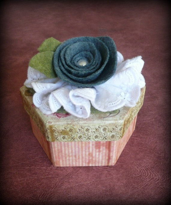 Blue Rose Decorated Trinket Box
