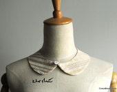 Beige Striped Vintage Style Peter Pan Collar