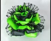 Lime Green & Black Velvet Rose Hair Flower - Spider Web Net Petals