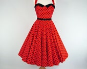 Made To Measure Red And Black Polka Dot Full Circle Dress - Detachable Straps & Belt