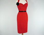 Made To Measure Polka Dot Pencil Dress - Detachable Straps & Belt