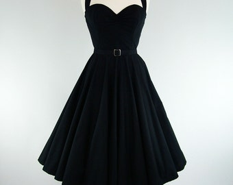 Made To Measure Black Full Circle Skirt Dress - Detachable Straps & Belt
