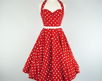Made To Measure Red And White Polka Dot Full Circle Skirt Dress - Detachable Straps & Belt