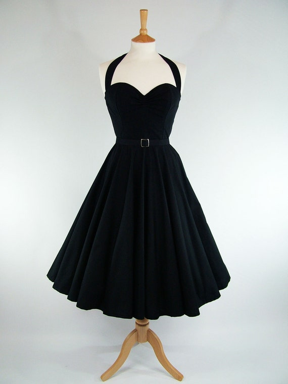 Made To Measure Black Full Circle Skirt Dress - Detachable Straps & Belt
