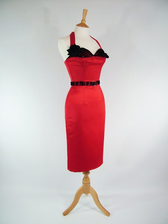 Made To Measure Red And Black Petal Bust Duchess Satin And Lace Pencil Skirt Dress - Detachable Straps & Belt