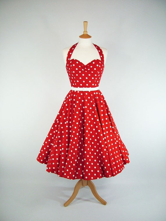 Made To Measure Red And White Polka Dot Full Circle Skirt Dress - Detachable Straps & Belt