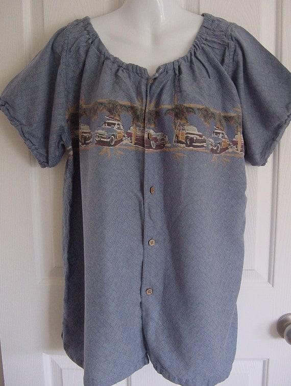 Peasant Blouse upcycled from a men's shirt 50 inch L  car print