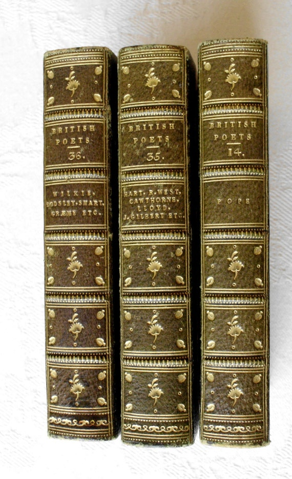 Antique Books, The Works Of The British Poets. Three Volumes